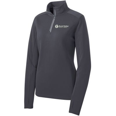 06b. Rock Valley Physical Therapy Ladies Sport-Wick Textured 1/4 Zip-Iron Grey