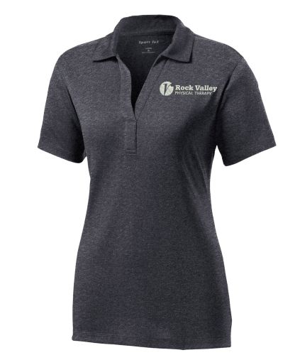 26. Rock Valley Physical Therapy Ladies Heather Contender Performance Polo-Graphite Heather