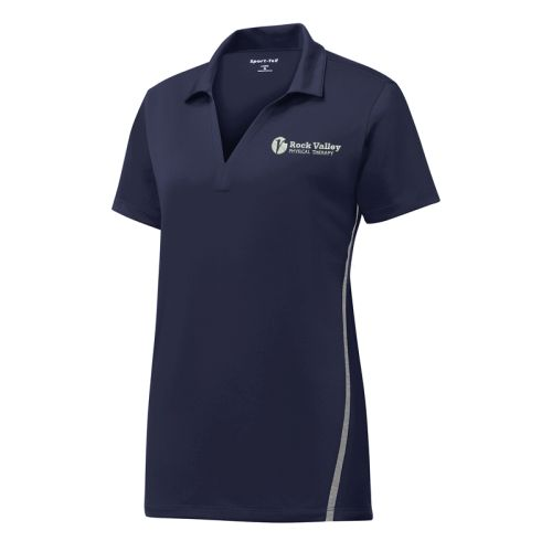 04. Rock Valley Physical Therapy Ladies Contrast PosiCharge Tough Polo-True Navy/Heather Grey