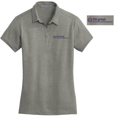 08. The Group Ladies Meridian Cotton Blend Polo-Monument Grey