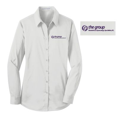 09. The Group Ladies Stretch Poplin Shirt-White