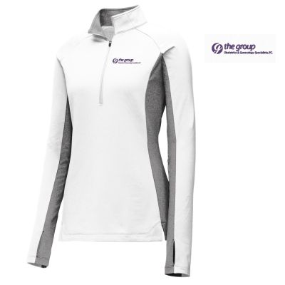 10. The Group Ladies Sport-Wick Stretch Contrast 1/2-Zip Pullover-White/Charcoal Grey Heather