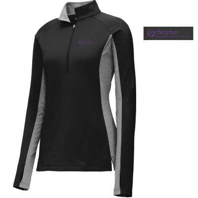 11. The Group Ladies Sport-Wick Stretch Contrast 1/2-Zip Pullover-Black/Charcoal Grey Heather
