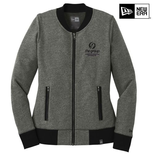10. The Group New Era Ladies French Terry Baseball Full-Zip-Black Twist/Black