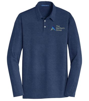 The Northern Group Long Sleeve Meridian Cotton Blend Polo-Estate Blue