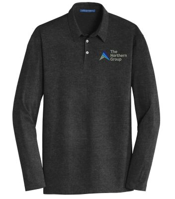 The Northern Group Long Sleeve Meridian Cotton Blend Polo-Black