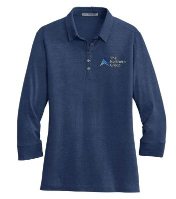The Northern Group Ladies 3/4 Sleeve Meridian Cotton Blend Polo-Estate Blue