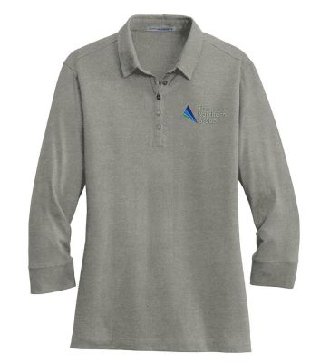 The Northern Group Ladies 3/4 Sleeve Meridian Cotton Blend Polo-Grey