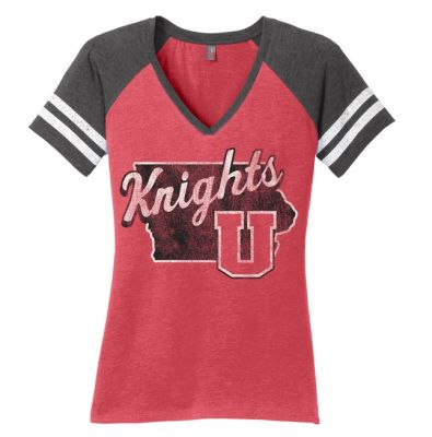 UHS Fall Fan Gear District Women's Game V-Neck Tee-Heather Red/ Heather Charcoal