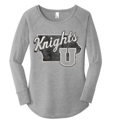 UHS Fall Fan Gear District Women's Perfect Tri Long Sleeve Tunic Tee-Grey Frost