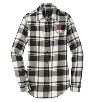 UHS Fall Fan Gear Ladies Plaid Flannel Tunic-Snow White/Black