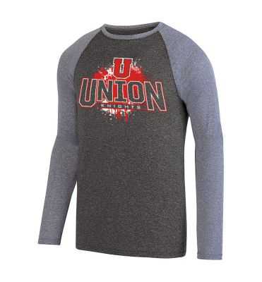 UHS Fall Fan Gear Kinergy Two Color Long Sleeve Raglan Tee-Black Heather/Athletic Heather