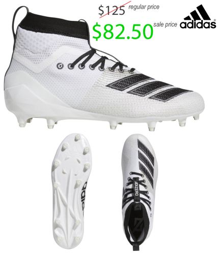 19. UNION Football Player Gear 2019 Adidas Adizero 5-Star 8.0 Mid Football Cleat-White/Black