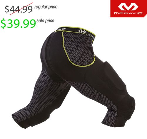 25. UNION Football Player Gear 2019 McDavid Rival 7-pad Girdle (3/4 length tight with hard shell thigh guards)- Black