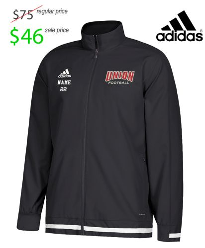 01. UNION Football Player Gear 2019 Adidas Team 19 Full Zip Woven Warm-Up Jacket-Black