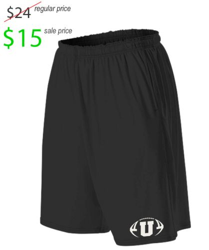 "05. UNION Football Player Gear 2019 Alleson Flat Knit 9"" Performance Training Shorts With Pockets-Black"