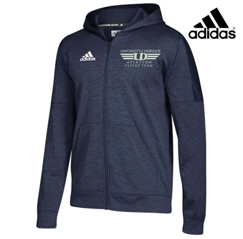 University Of Dubuque Aviation Adidas Team Issue Full Zip Performance Hood-Navy