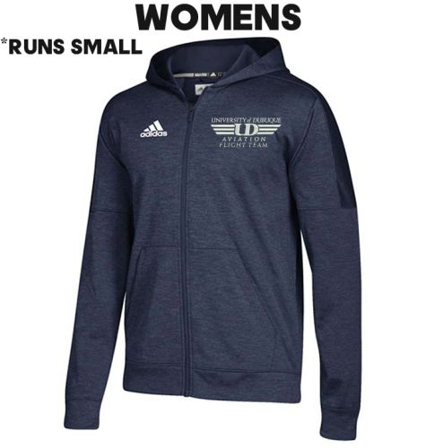 University Of Dubuque Aviation Adidas Women's Team Issue Full Zip Hood-Navy (runs small)