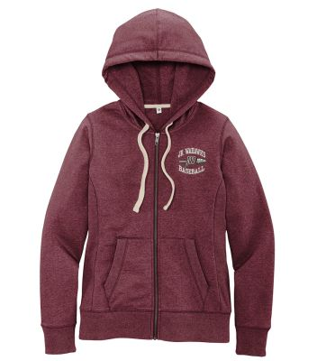 Jr. Warhawks Baseball District Women's Re-Fleece Full Zip Hoodie-Maroon Heather