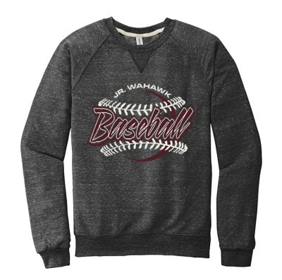 Jr. Warhawks Baseball Jerzees Unisex (men sizing) Snow Heather French Terry Raglan Crew-Black Ink