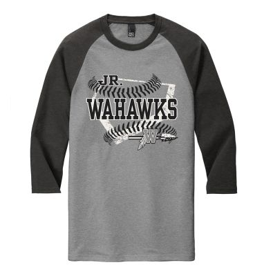 Jr. Warhawks Baseball District Perfect Triblend 3/4 Sleeve Raglan-Black Frost/Grey Frost