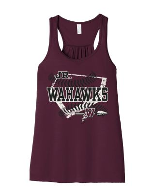 Jr. Warhawks Baseball Bella and Canvas Women's Flowy Racerback Tank-Maroon
