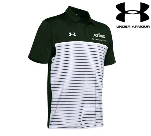 30. XPAC Under Armour Men's Stripe Mix-up Polo-Forest