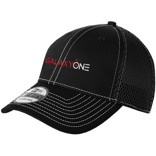J: Galaxy One New Era Black Stretch Mesh Cap-TECHNICIAN FIELD APPROVED