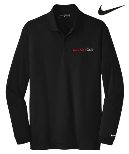 Galaxy One Nike Golf Long Sleeve Black Mens Polo-SALES
