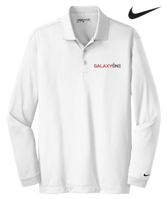 Galaxy One Nike Golf Long Sleeve Mens Polo-White-SALES