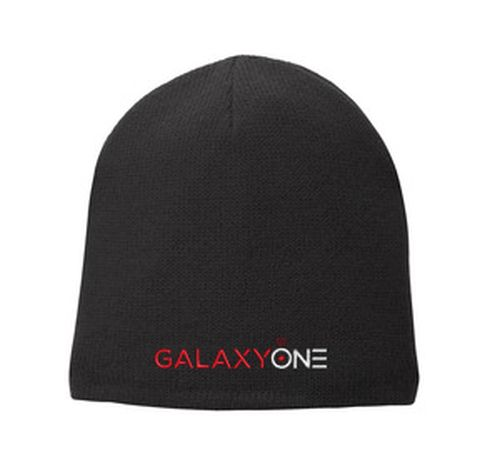 L: Galaxy One Black Fleece Lined Beanie Cap
