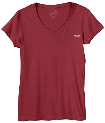 Galaxy One Staff Short Sleeve Ladies V-Neck T-Shirt (RUNS SMALL)-Cardinal Red